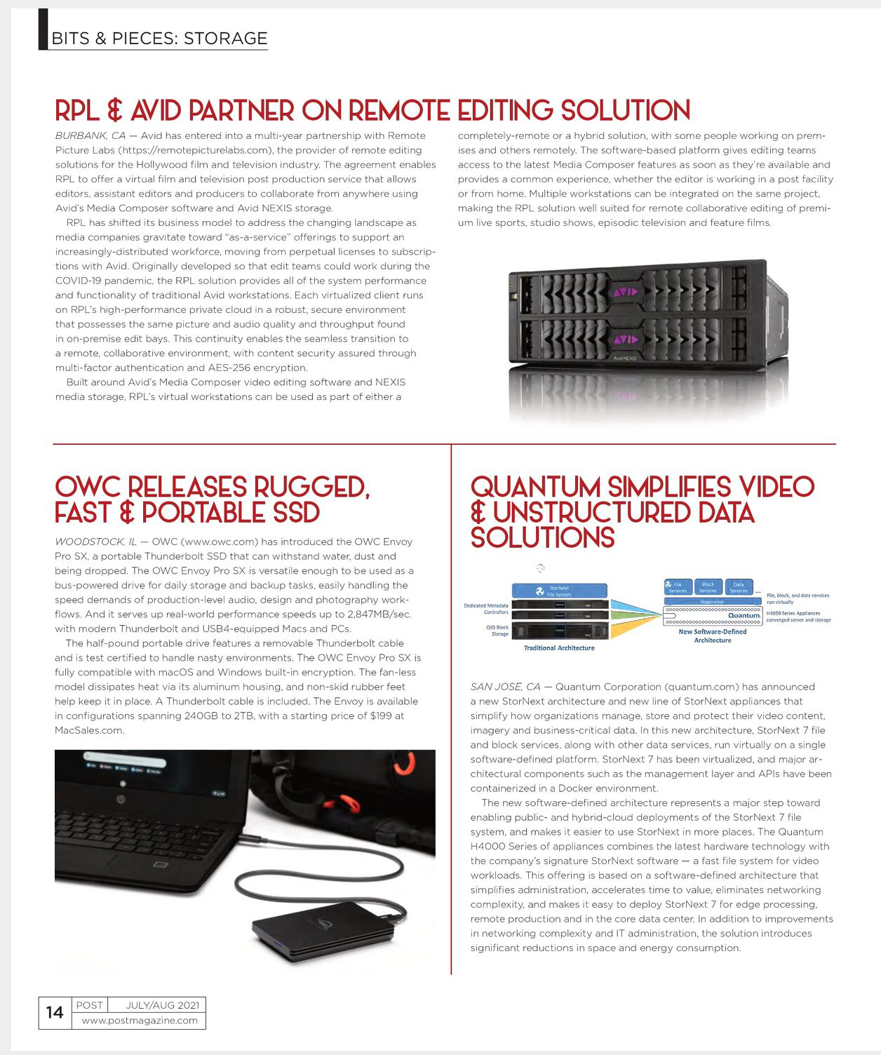RPL & Avid Partner on Remote Editing Solution - feature in Post Magazine, July/Aug 2021