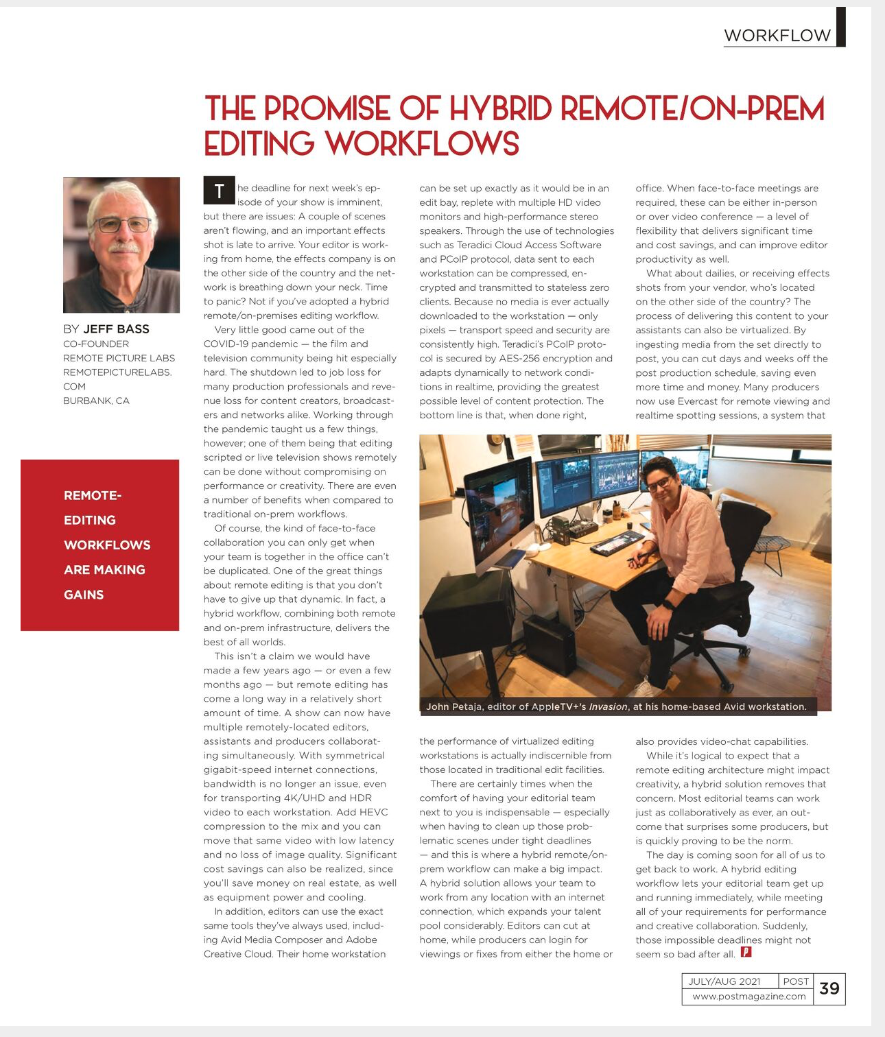 The Promise of Hybrid Remote/On-Prem Editing Workflows - feature in Post Magazine, July/Aug 2021